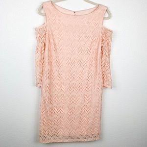 Sandra Darren Blush Lace Shift Cold Shoulder Dress